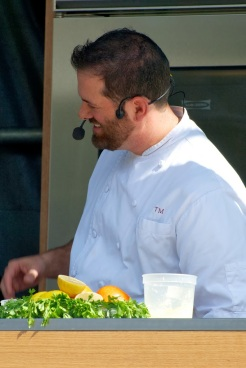 Oct. 5, 2013–Chef Tony Maws, the chef and owner of Craigie on Main, a restaurant in Cambridge, looks on tasters during his cooking demonstration at the Let's Talk About Food Festival at Boston's Copley Square. Photo by Lisa Dukart.
